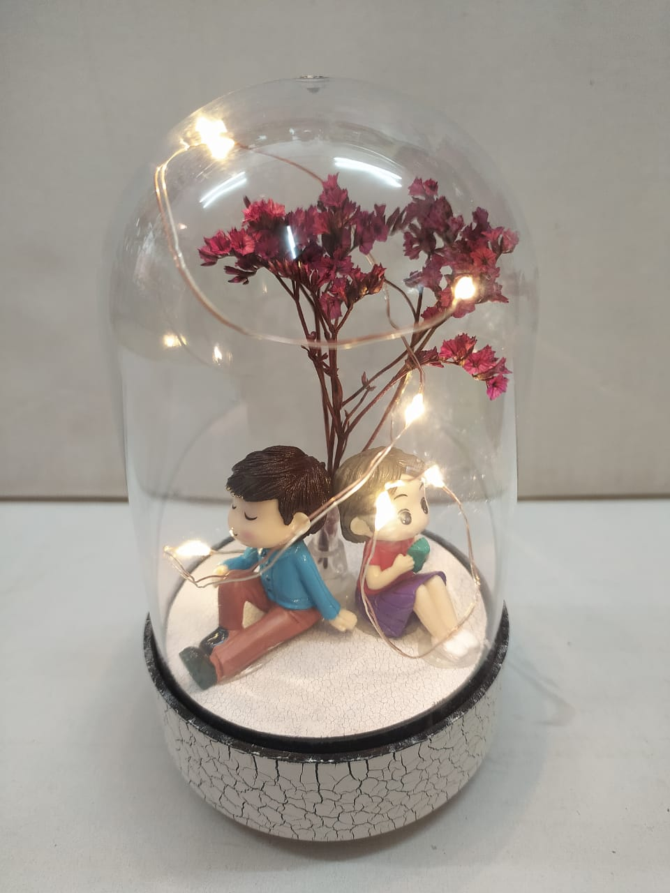 Buy Cute couple Boy n Girl in Glass with LED (CT88)Online