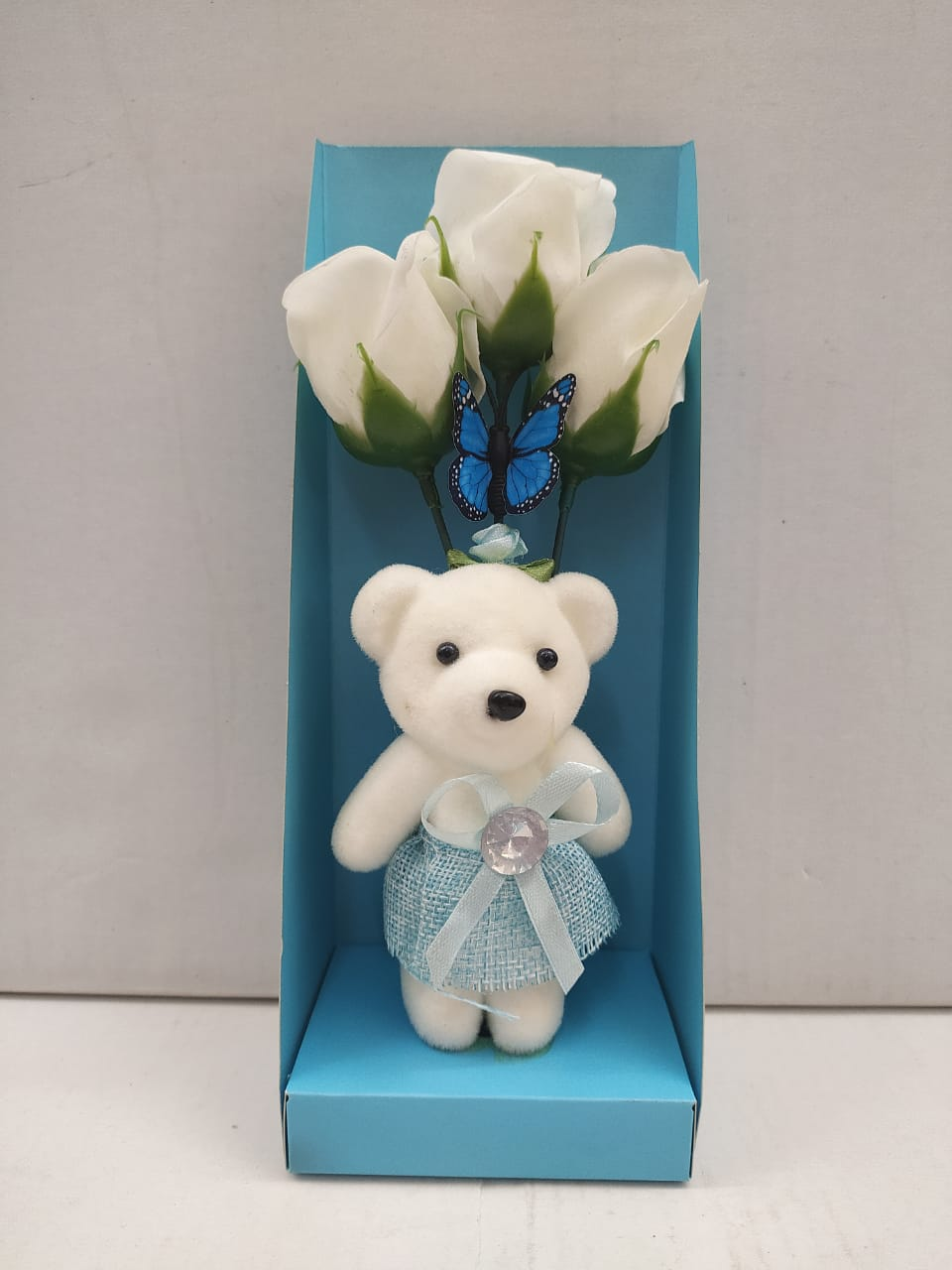Buy Teddy With Roses Greeting Gift (DE290)Online