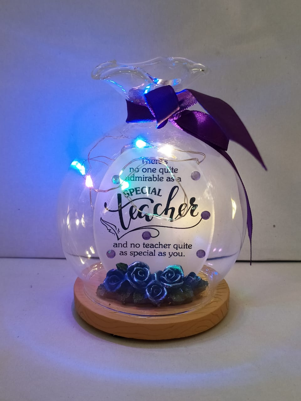 Buy Teachers Day Greeting In Glass Bowl Style With LED (DLM128) Online