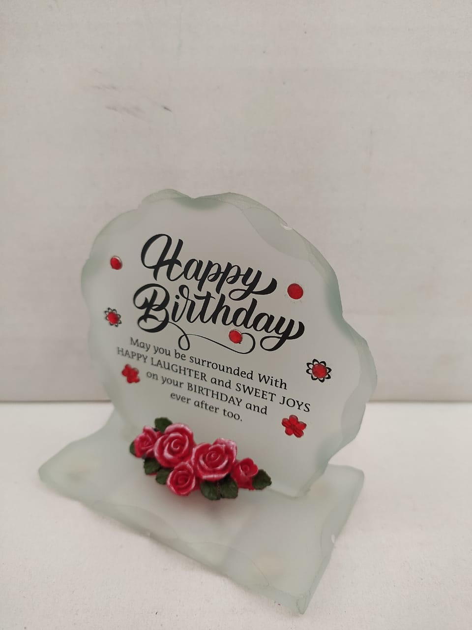 Happy Birthday Greeting Glass with Matt finish Greeting Showpieces (DLM129)