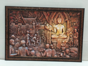 Buy Budha Mandir Sceneric Picture Frame In Emboss Style Without Glass (FRM 12X18)Online