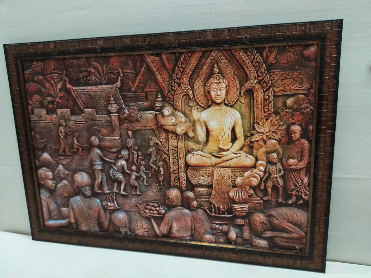 Buy Budha Mandir Sceneric Picture Frame In Emboss Style Without Glass (FRM 12X18) Online