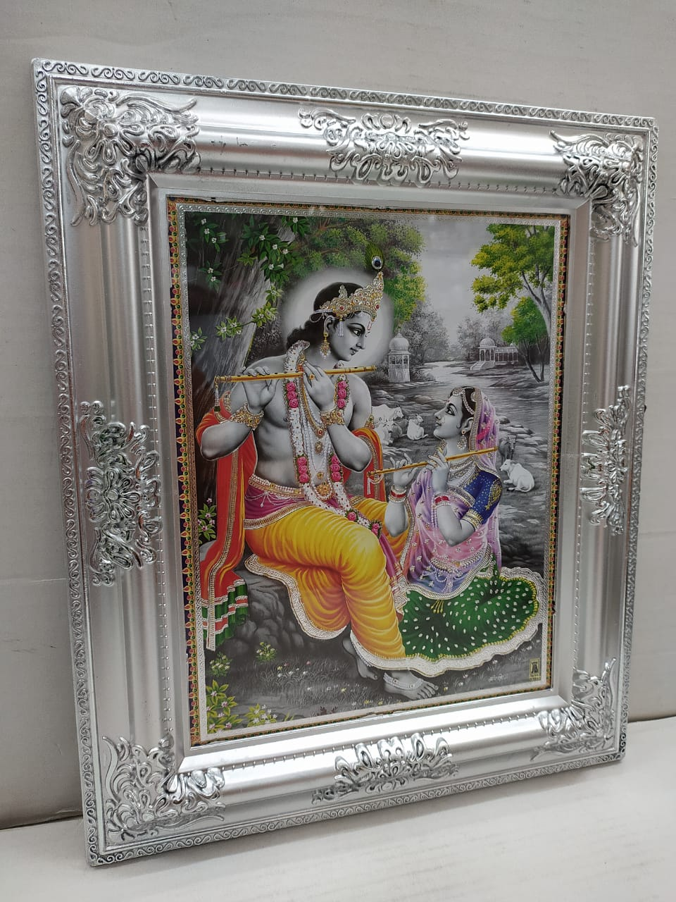 Buy Radha Krishna Painting With Silver Colour Antique Frame (MT26) Online