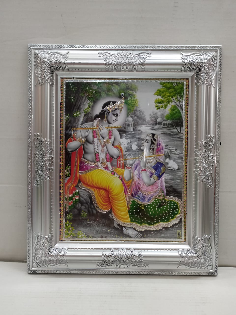 Radha Krishna Painting With Silver Colour Antique Frame (MT26)