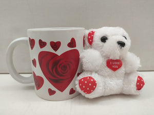 Buy Mug With Heart Roses With Teddy Soft Toy (NY51)Online