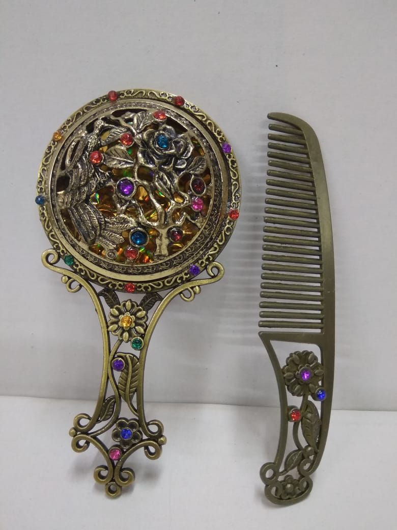 Antique design mirror with stones and comb set for women F140