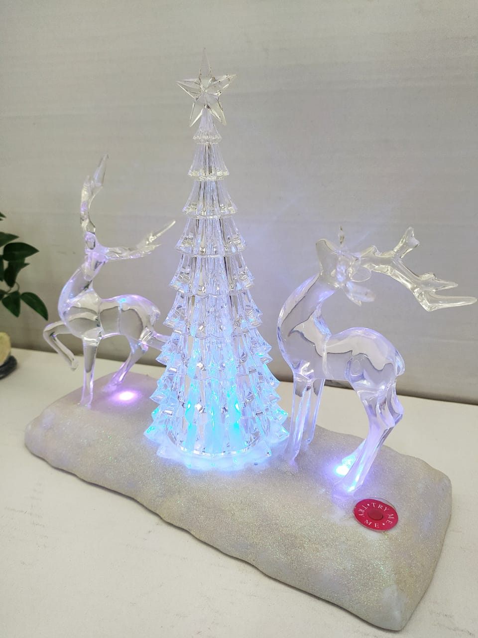 Buy Xmas Snow deer showpiece with Multi colour LED lighting. Online