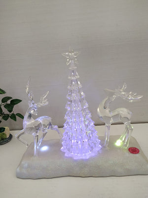 Xmas Snow deer showpiece with Multi colour LED lighting.