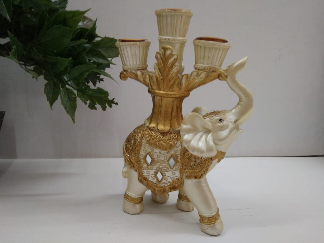 Antique model Elephant showpiece with 3 candle holders   SR014