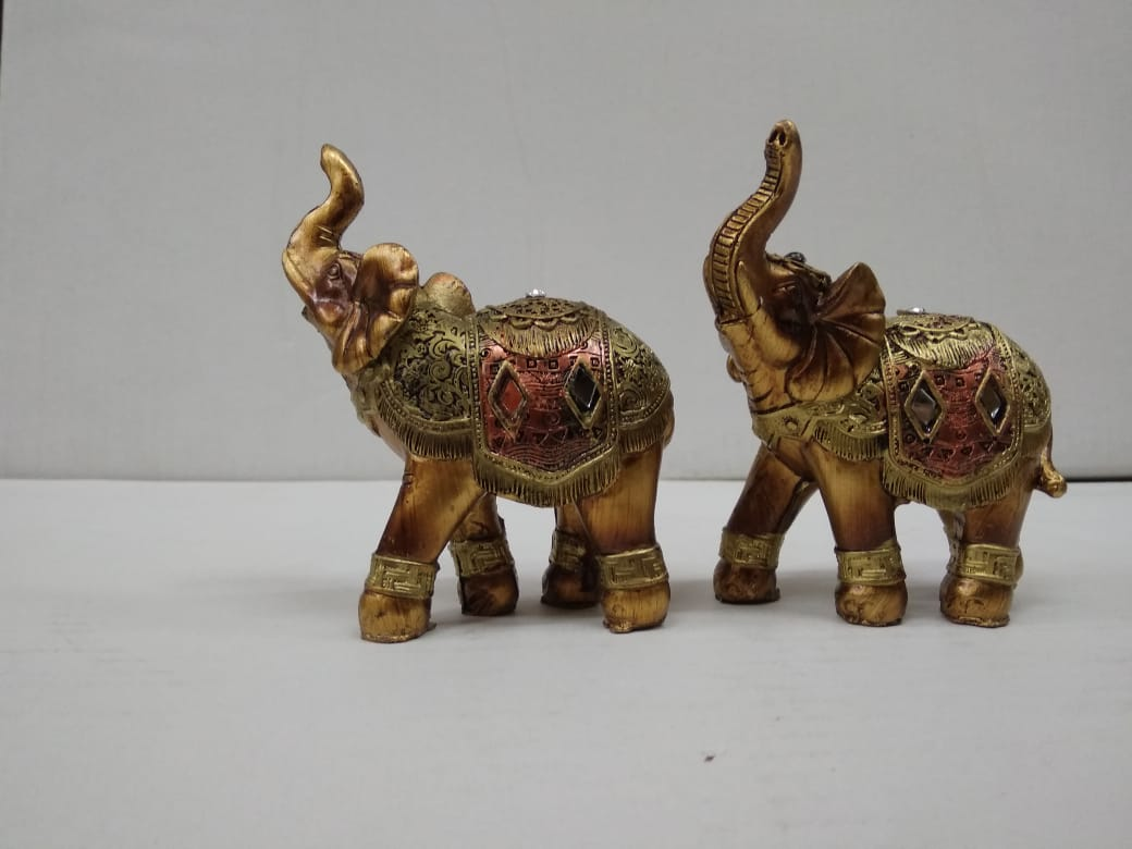 Set of antique style attached 2  elephants DE173