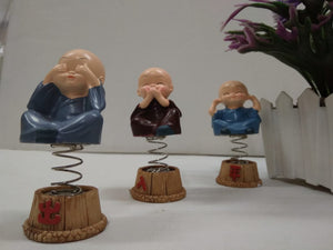 Buy Set of 3 cute monks showing Mahatma Gandhi's principles with spring   CT23Online