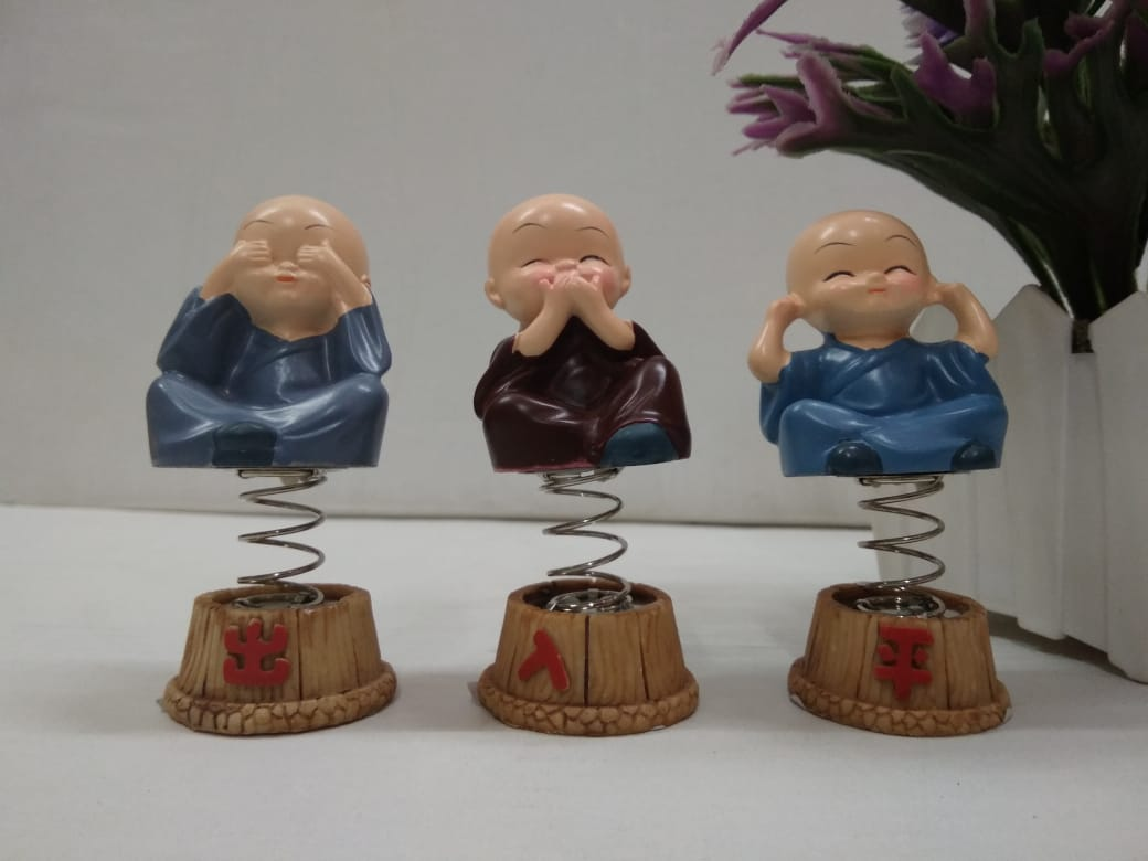 Set of 3 cute monks showing Mahatma Gandhi's principles with spring   CT23