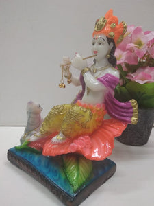 Lord Krishna sitting on Hibiscus flower vase AK1