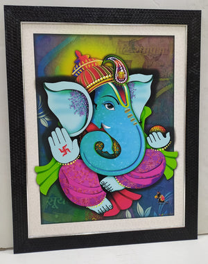 Beautiful Ganesha picture wall frame with vibrant colors NY180