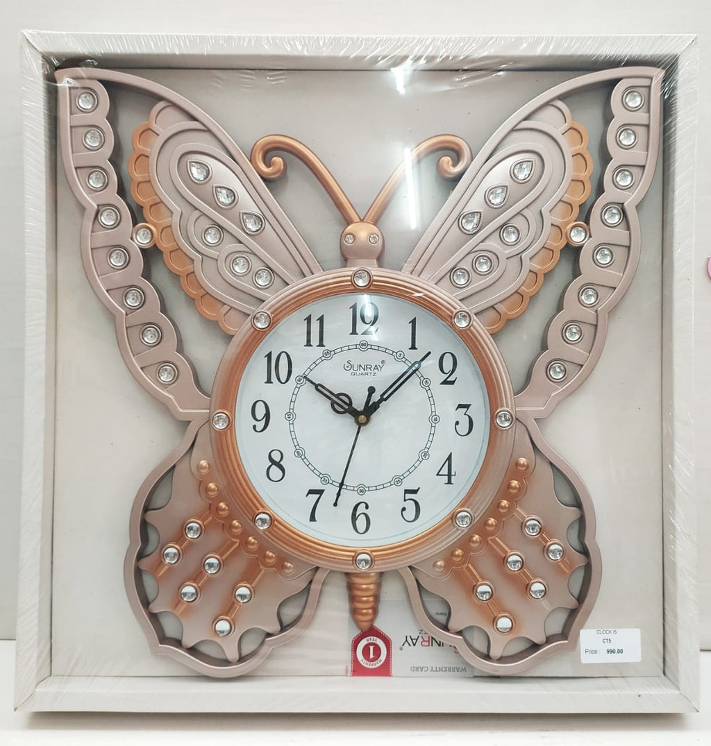 Beautifully designed butterfly wall clock with stones CT5