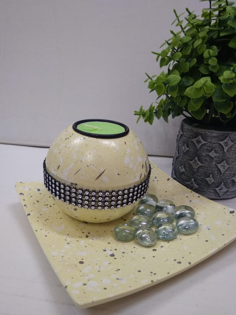 Candle holder with pebble DLM36