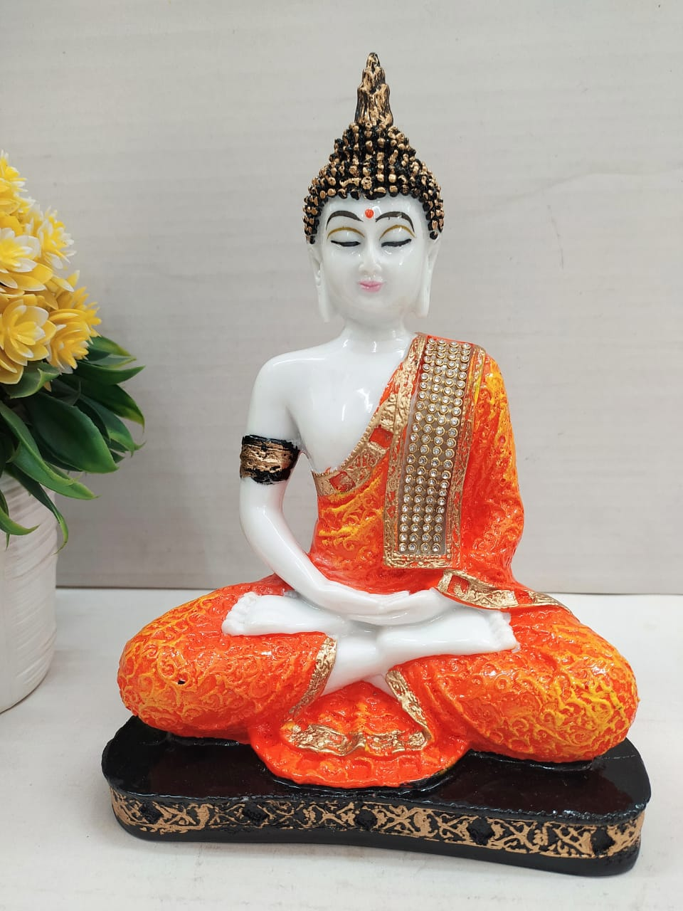 Buy Budha meditating showpiece with stone work   CT48Online
