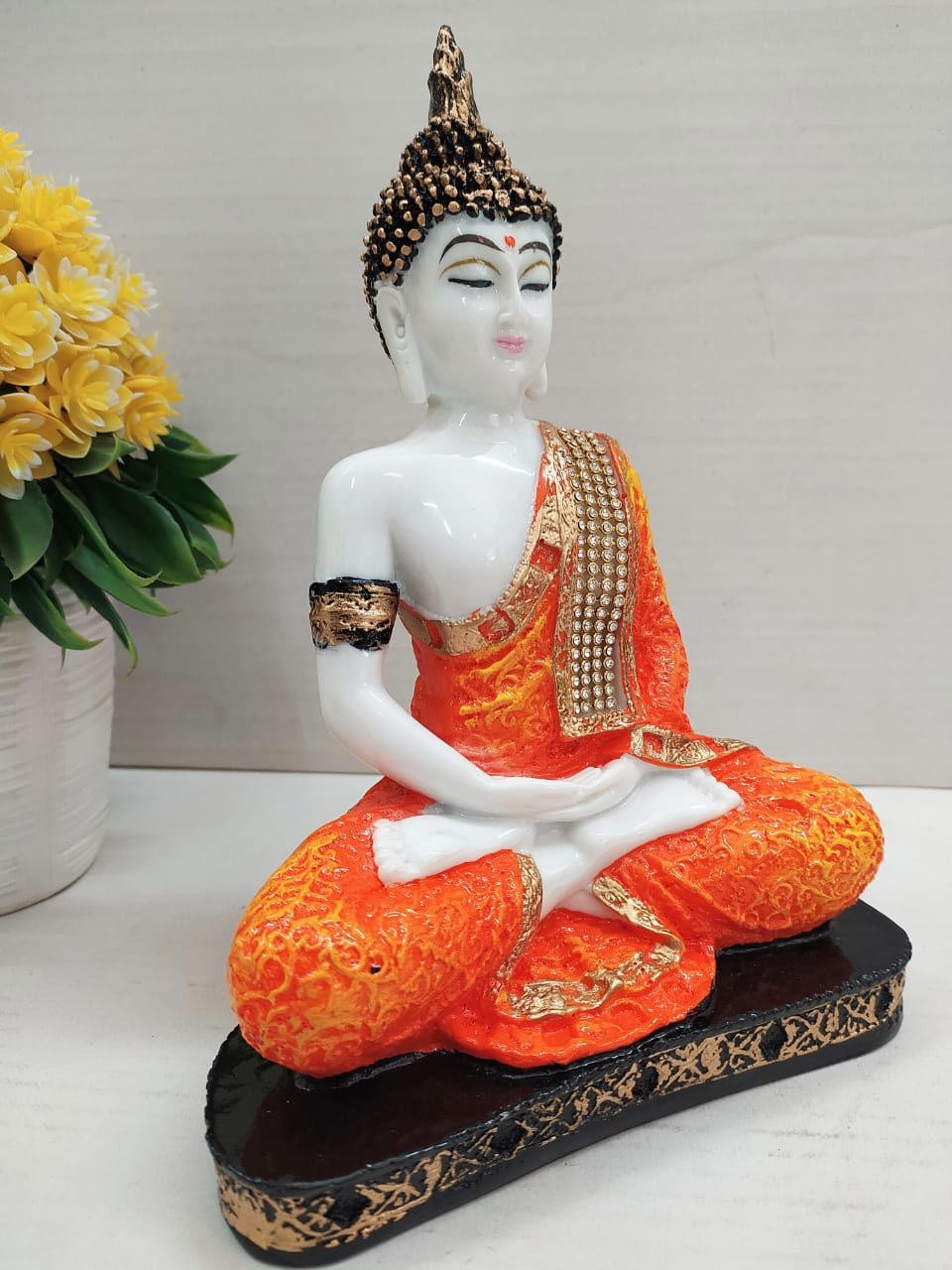 Budha meditating showpiece with stone work   CT48