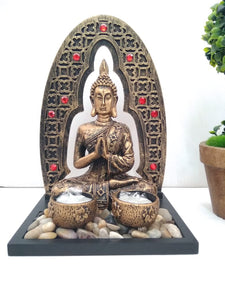 Buy Stonework Antique finish Budha showpiece with two candle holders and pebbles NY245Online