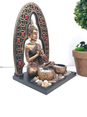Buy Stonework Antique finish Budha showpiece with two candle holders and pebbles NY245 Online