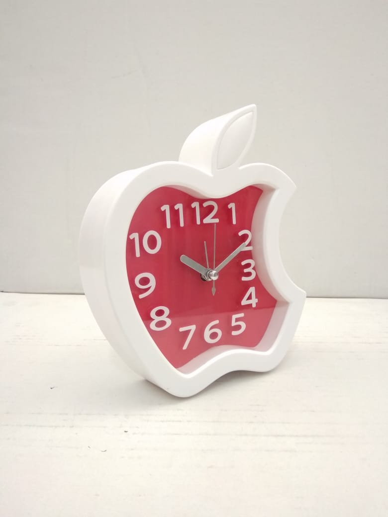 Apple shaped table top clock cum wall clock with alarm   NY110