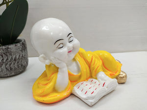 Cute little book reading monk CT26