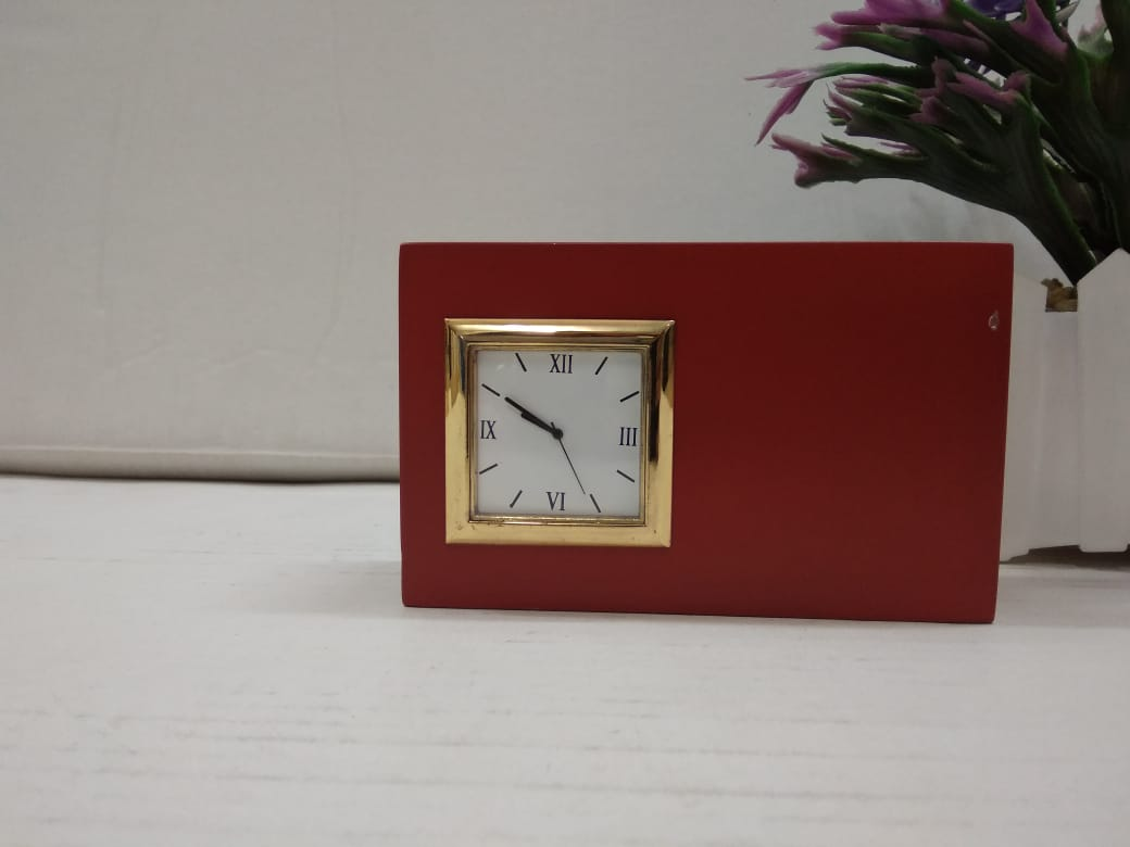 Classic Table top Pen stand cum business card holder with clock   CT240