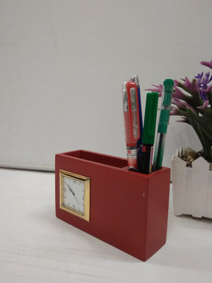 Buy Classic Table top Pen stand cum business card holder with clock   CT240 Online