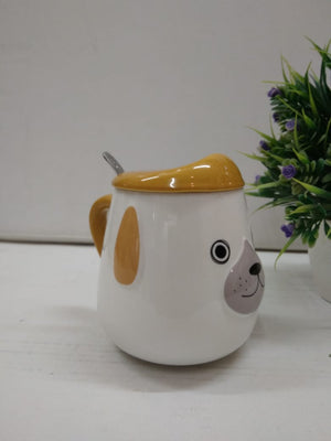 Puppy shaped coffee mug with spoon and lid   .DE152