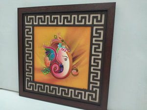 Buy Ganesha wall hanging picture frame with cut design frame   CT260Online