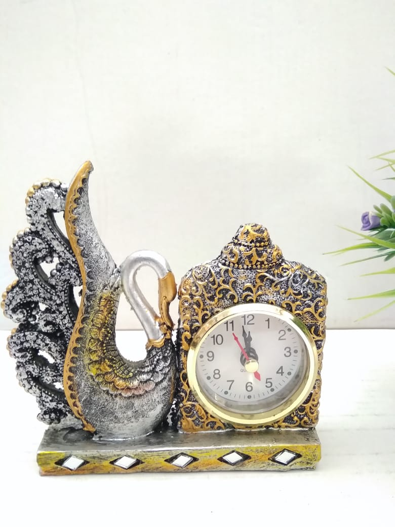 Buy Beautifully crafted swan with clock for desktop   SR020Online
