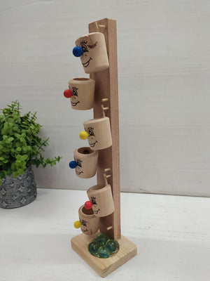 Buy Wooden Clown Cups and Marble Ball Run Track Game for kids NY90 Online