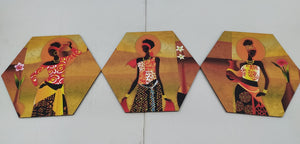 Contemporary art African women wall art 3 pieces set NY260
