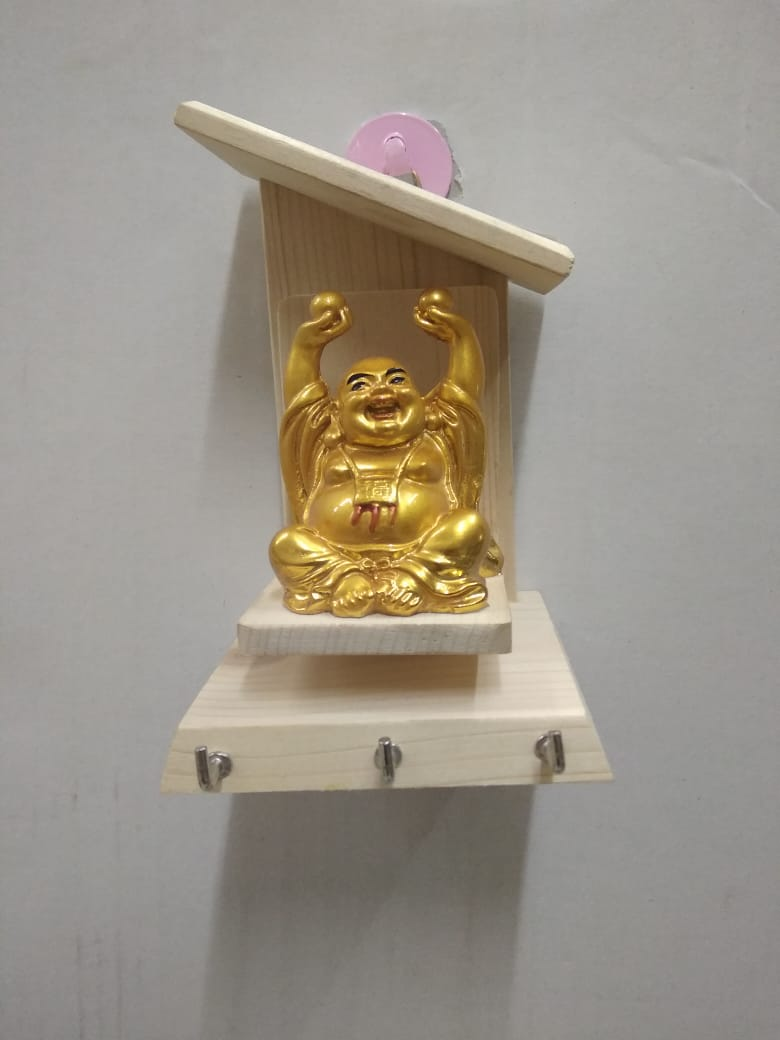Buy Wooden Key holder with laughing Buddha NY264Online