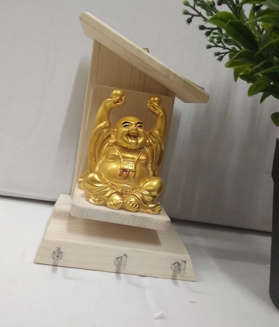 Buy Wooden Key holder with laughing Buddha NY264 Online