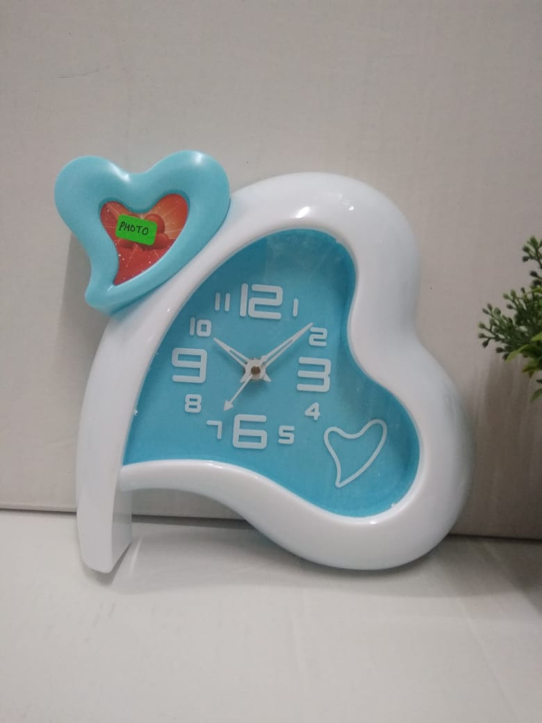 Buy Two hearts shape table clock with photo frame  AK51 Online