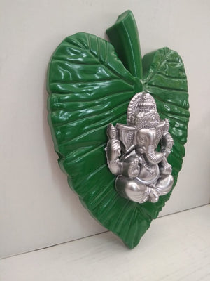 Buy Ganesha on Lotus leaf wall hanging    NY104 Online