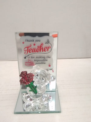 Buy Wishes to teacher with teddy and rose crystal showpiece  DLM143 Online
