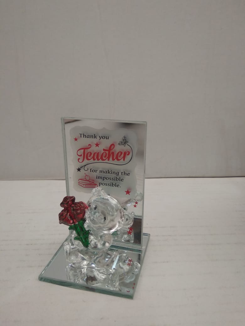 Buy Wishes to teacher with teddy and rose crystal showpiece  DLM143Online
