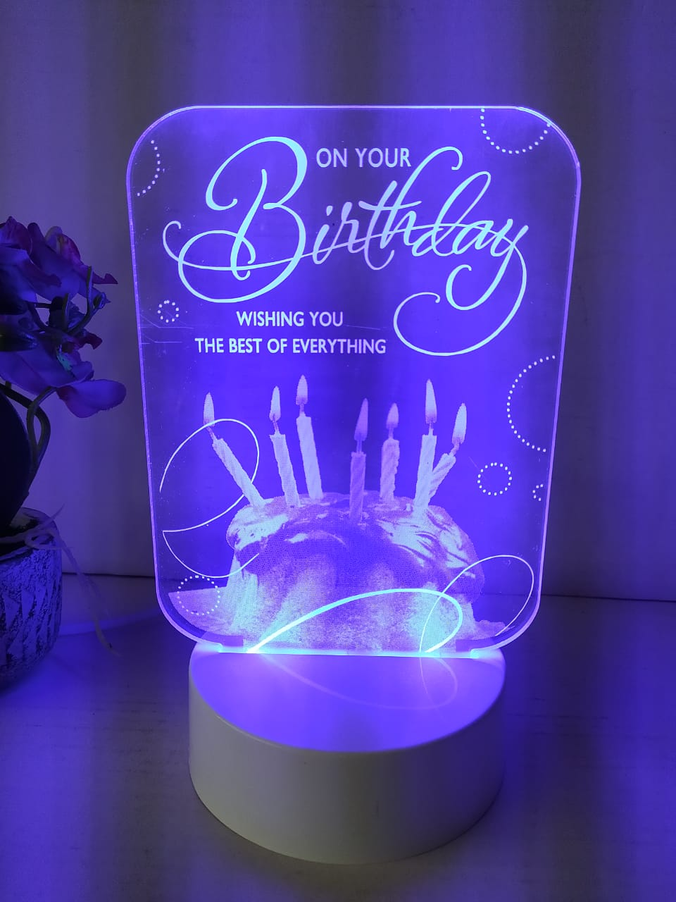 Crystal engraved birthday wishes greeting with multicolor LED lighting    NY112