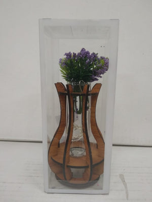 wooden flower vase showpiece with LED lighting   SCS89