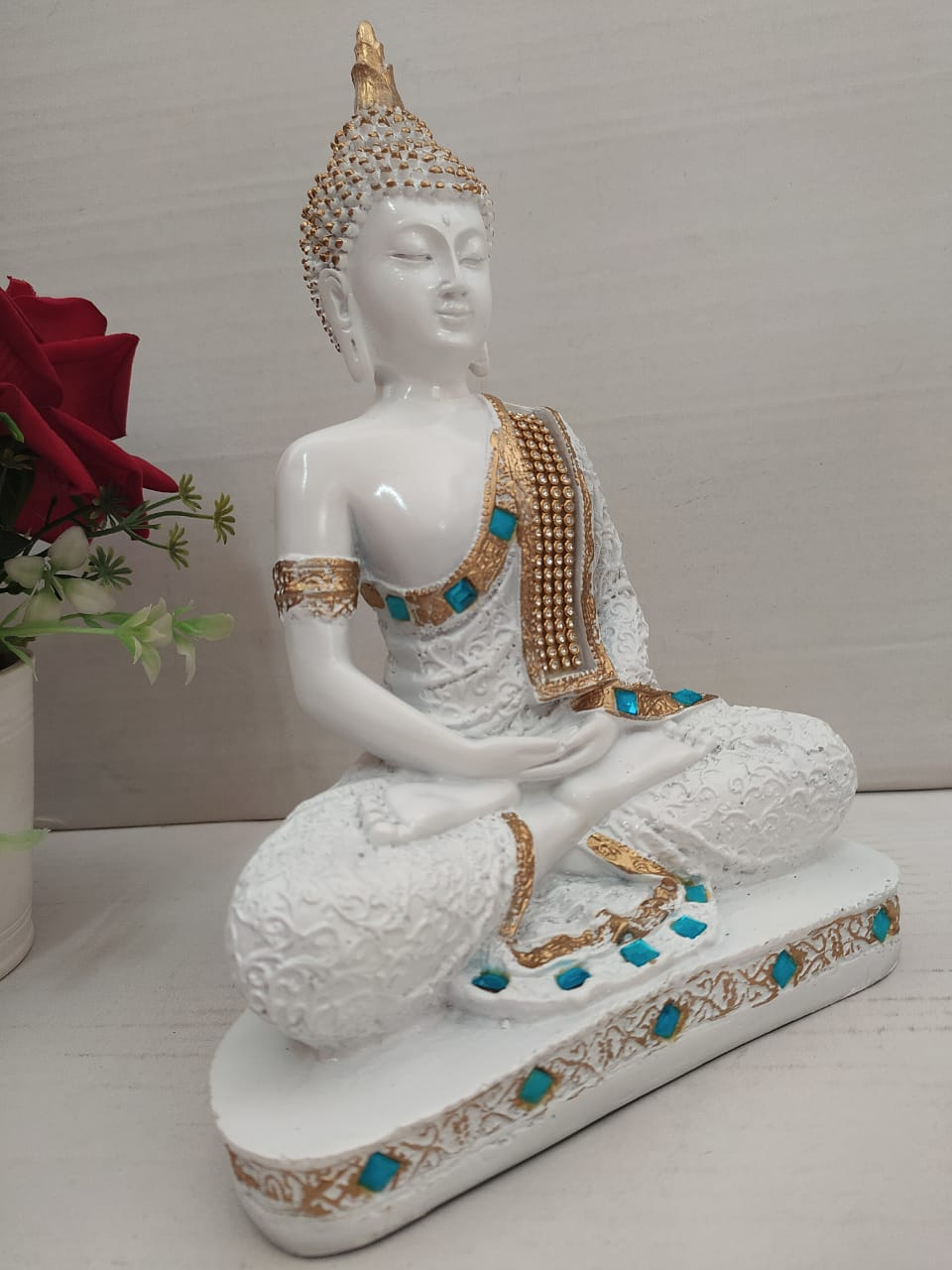 Beautiful charming meditating Buddha with stone work  DC158