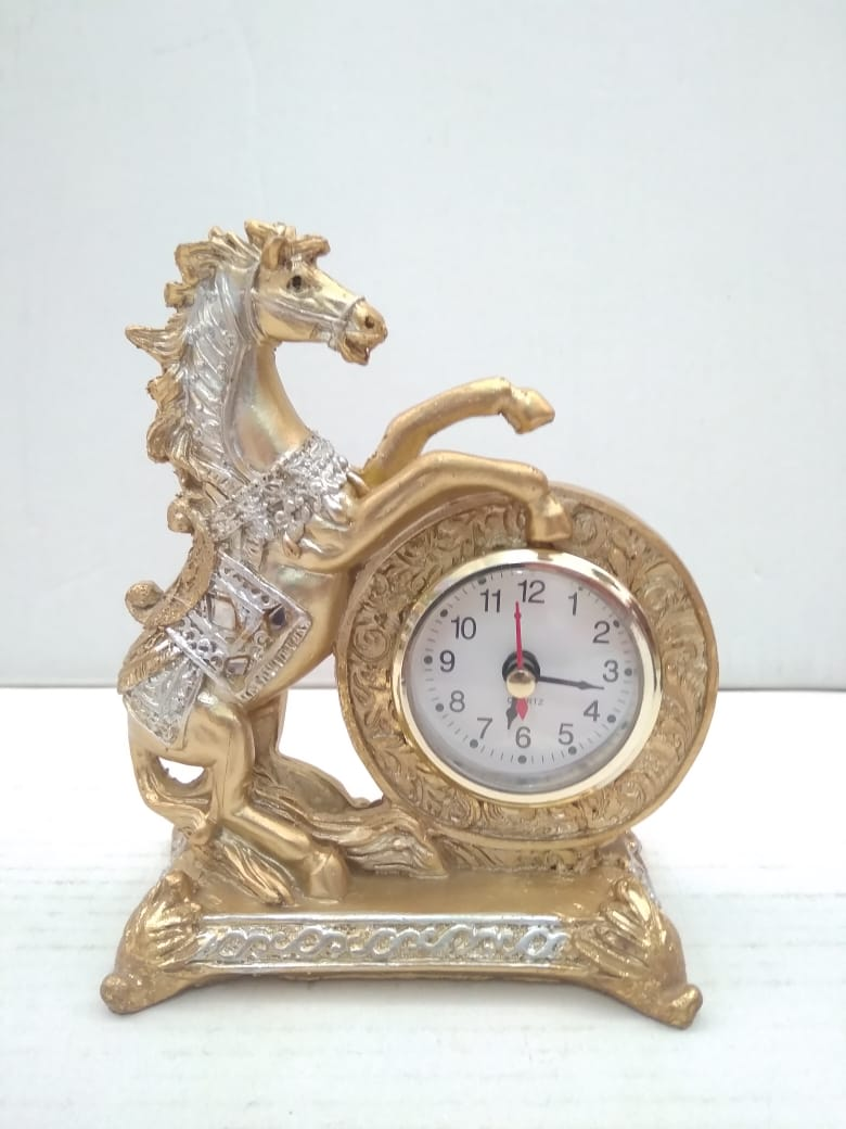 Beautiful Horse showpiece with table clock SR013