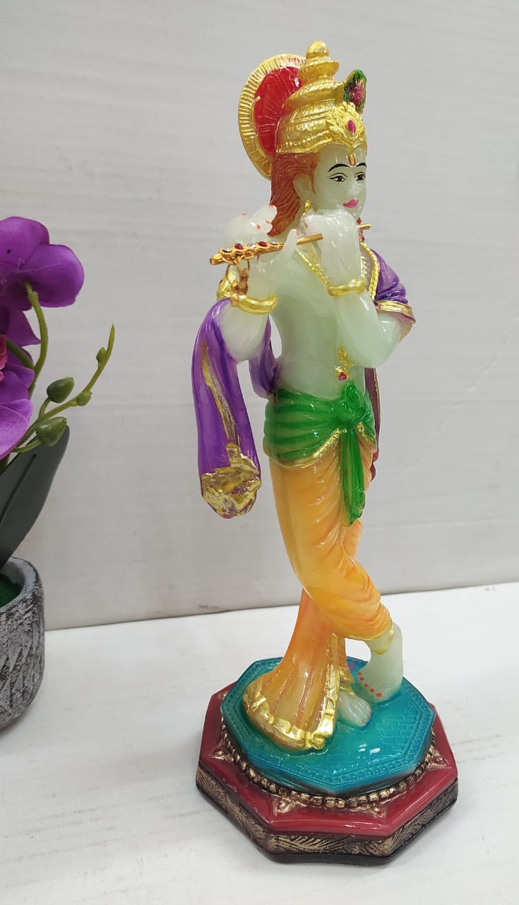 Glow in dark Lord Krishna playing flute showpiece  MT06