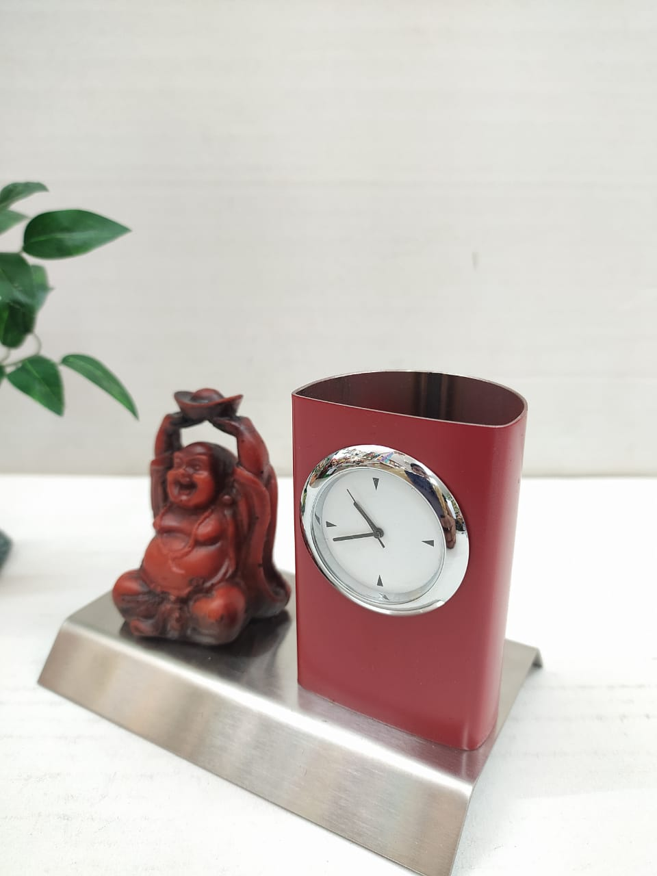 Metallic Pen stand with clock and laughing Buddha MT09