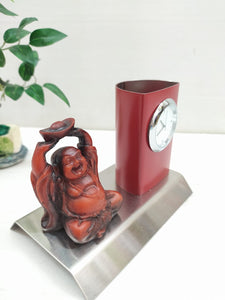 Buy Metallic Pen stand with clock and laughing Buddha MT09Online