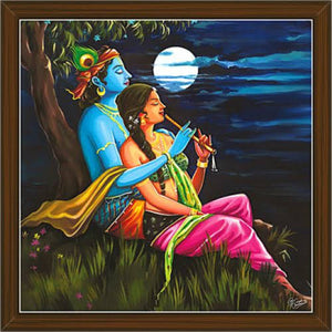 Canvas Frame of Radha Krishna