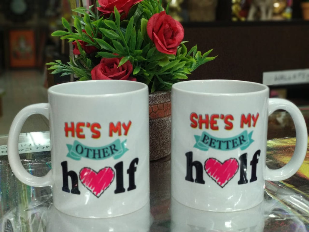 Buy Couple mugs set of 2 with heart key chainOnline