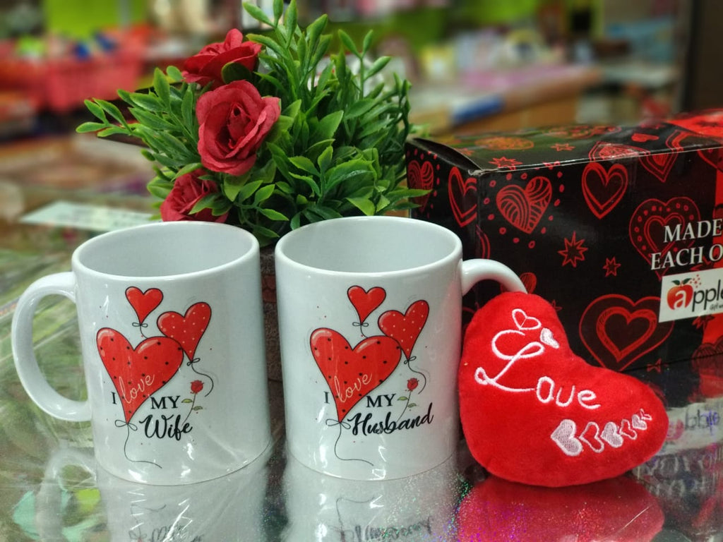 Buy Couple mugs for wife & Husband with heart key chain - NY7Online
