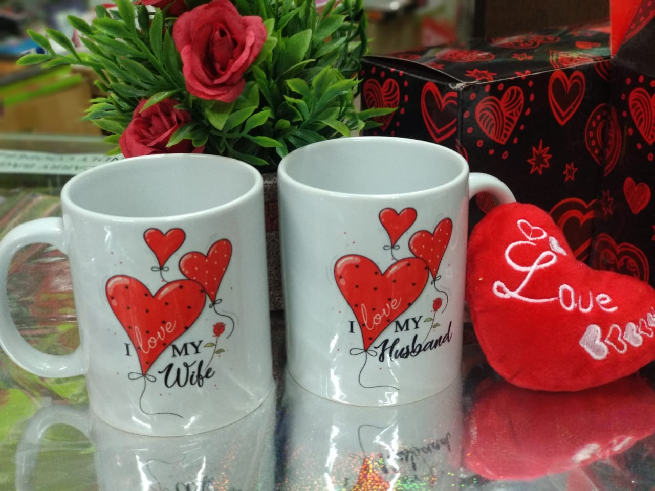 Couple mugs for wife & Husband with heart key chain - NY7